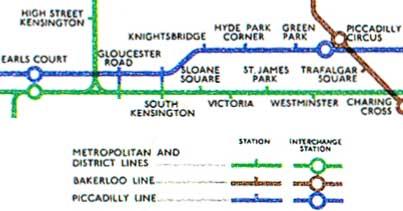 Кусок схемы лондонского метро 1946 года
