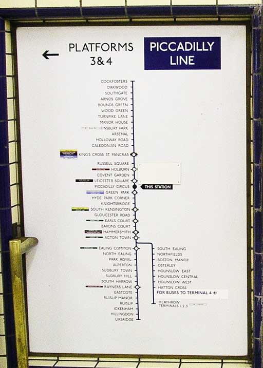 Информация на станции Piccadilly Circus