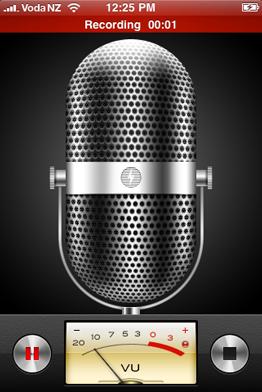 «Диктофон» во время записи подсвечивает красным верхнюю строчку