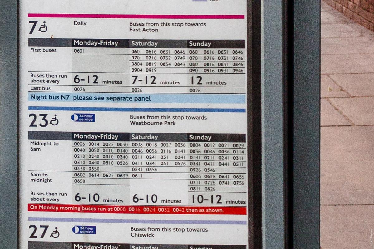 Расписание автобусов на Сассекс-гарденс