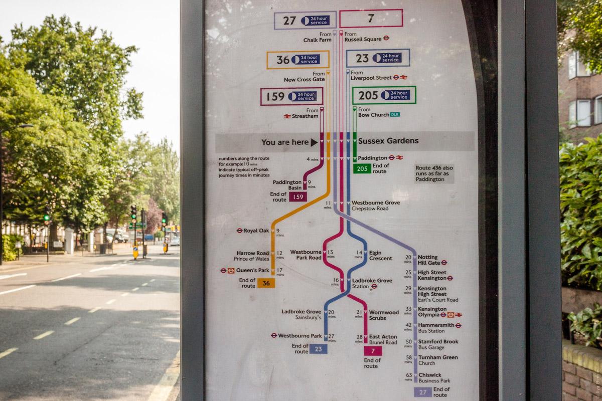 Вертикальная схема автобусов на Сассекс-гарденс