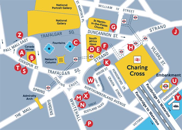 Схема остановок в районе Трафальгарской площади и вокзала «Черинг-кросс»