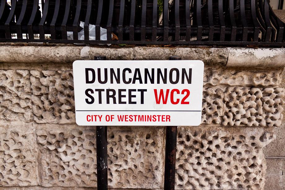 Уличные таблички Лондона. Duncannon street