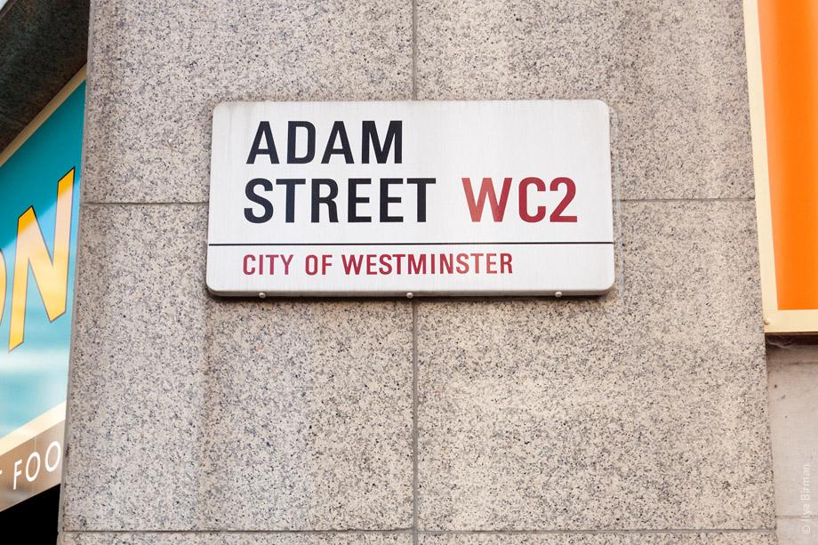 Уличные таблички Лондона. Adam street
