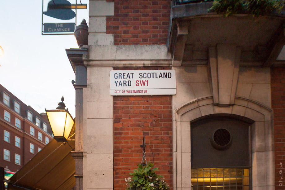 Уличные таблички Лондона. Great Scotland Yard