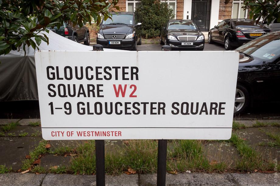 Уличные таблички Лондона. Gloucester Square