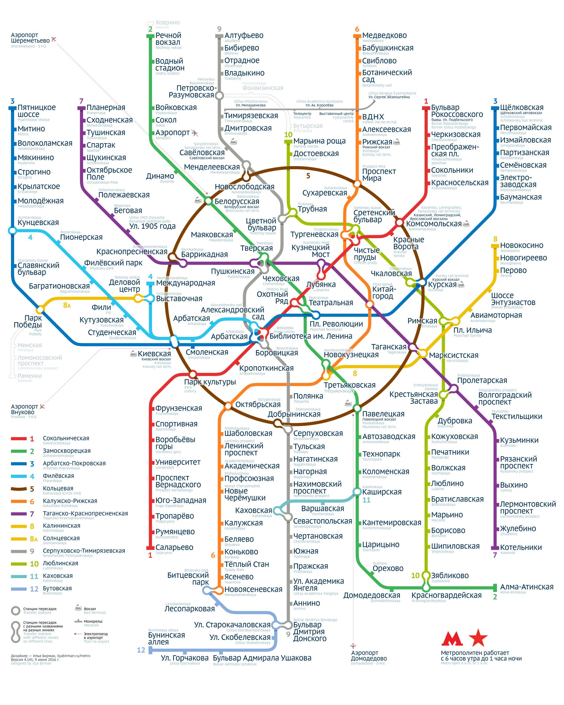Плакат со схемой метро