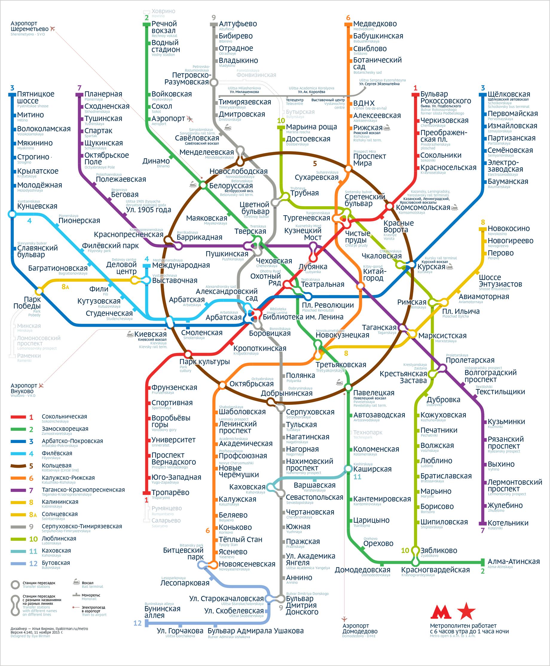 схема московского метро парк победы