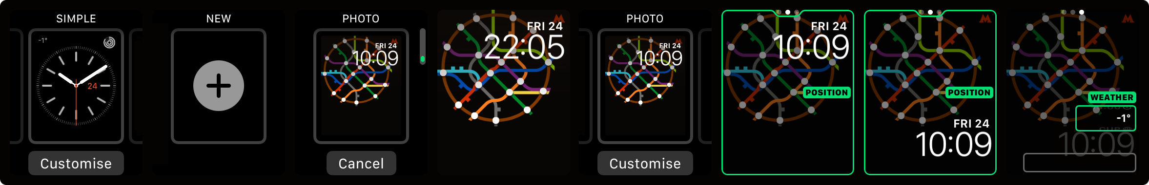 Наносхема метро для часов