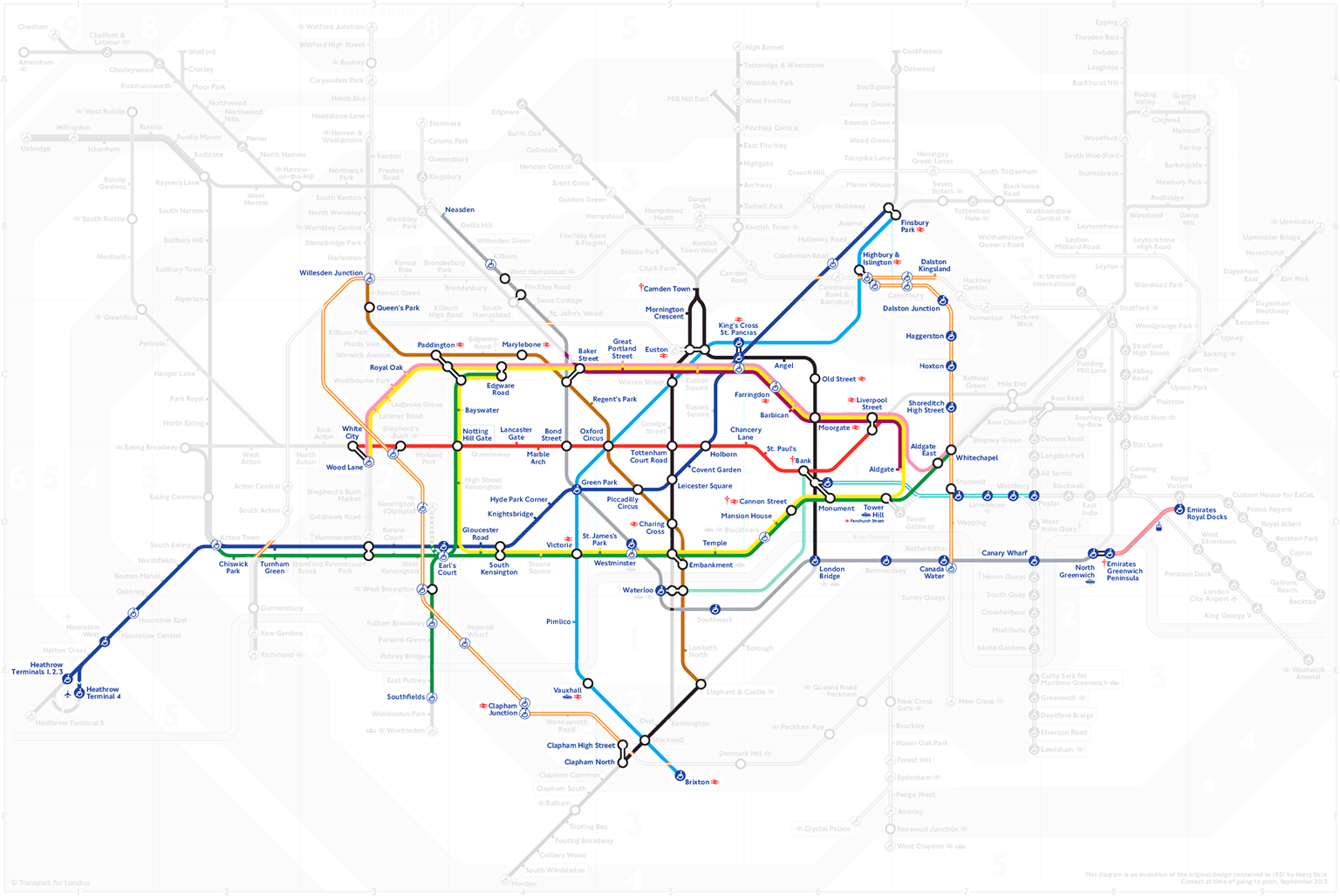 Схема покрытия лондонского метро поездками Ильи Бирмана