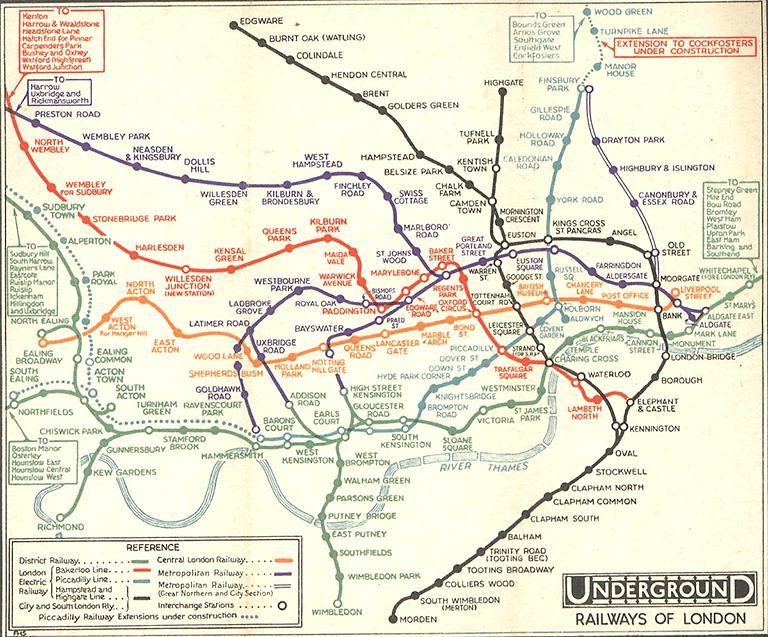 Схема линий метро Лондона,